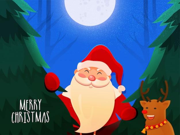Feiergrußkarte der frohen weihnachten mit illustration von weihnachtsmann, von ren und von weihnachtsbaum auf mondschein.