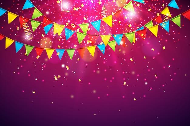 Feierhintergrund mit bunter party-markierungsfahne und fallendem confetti