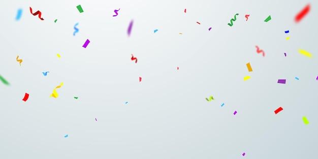 Feierhintergrundschablone mit konfetti und bunten bändern.