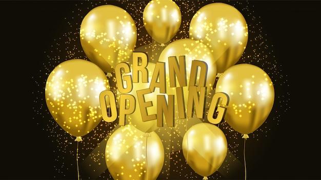 Feierliche eröffnung vorlage mit goldenen ballon