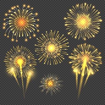 Feierlicher goldener feuerwerksgruß platzte