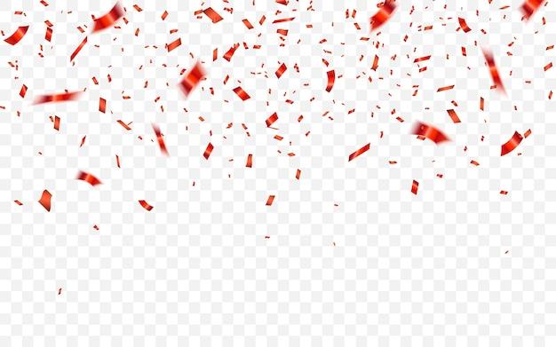 Feierlicher karneval, der glänzendes glitzerkonfetti in roter farbe fällt