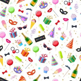 Feierlicher karneval festlicher nahtloser hintergrund. buntes symbolmuster - hut, maske, geschenke, luftballons, champagnerfeuerwerksfahnen