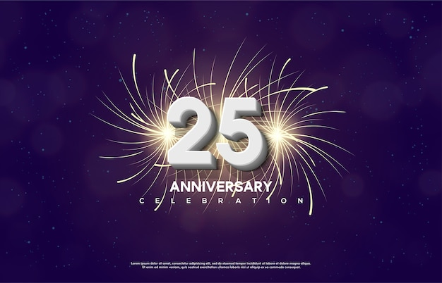 Feierlichkeiten zum 25. geburtstag mit weißen 3d-zahlen und feuerwerkskörpern.