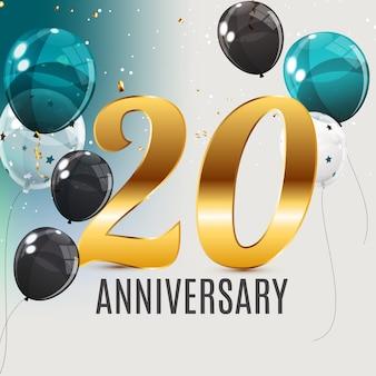 Feiern des 20-jährigen jubiläums-emblem-schablonendesigns mit dem hintergrund des goldenen zahlenplakats. illustration