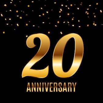 Feiern des 20-jährigen jubiläums-emblem-schablonendesigns mit dem hintergrund des goldenen zahlenplakats.
