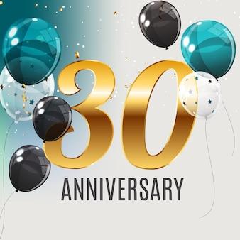 Feiern des 30-jährigen jubiläums-emblemschablonendesigns mit dem hintergrund des goldenen zahlenplakats. illustration