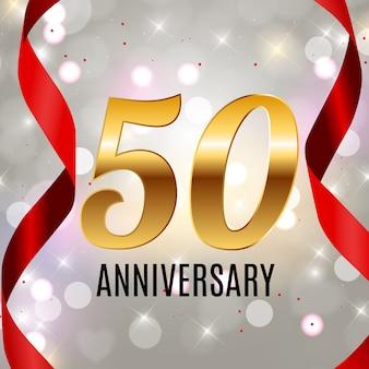 Feiern des 50-jährigen jubiläums-emblem-schablonendesigns mit dem hintergrund des goldenen zahlenplakats. illustration