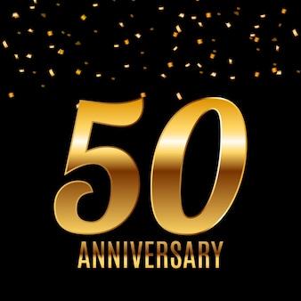 Feiern des 50-jährigen jubiläums-emblem-schablonendesigns mit dem hintergrund des goldenen zahlenplakats.