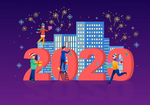 Feiern des flachen vektor-konzeptes des neuen jahres 2020