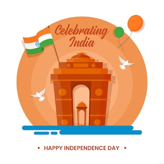 Feiern indien happy independence day konzept mit india gate canopy