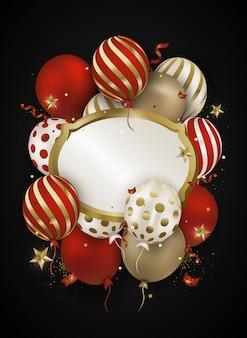 Feiern luft 3d luftballons, konfetti, funkelt.