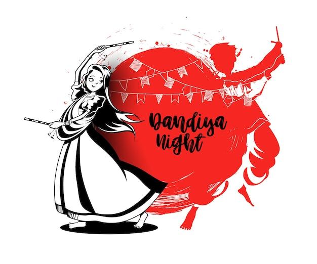 Feiern sie das navratri-festival mit tanzendem garba-männer-designvektor, handgezeichneter vektorillustration.