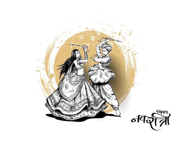 Feiern sie das navratri-festival mit tanzendem garba-männer- und -frauendesignvektor, handgezeichneter vektorillustration.
