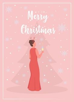 Feiern sie die flache vorlage der weihnachtsgrußkarte. frauen mit sekt. weihnachtsbaum. broschüre, broschüre einseitiges konzeptdesign mit comicfiguren. winterferien flyer, faltblatt