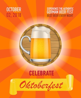 Feiern sie oktoberfest, deutsches bierplakatdesign