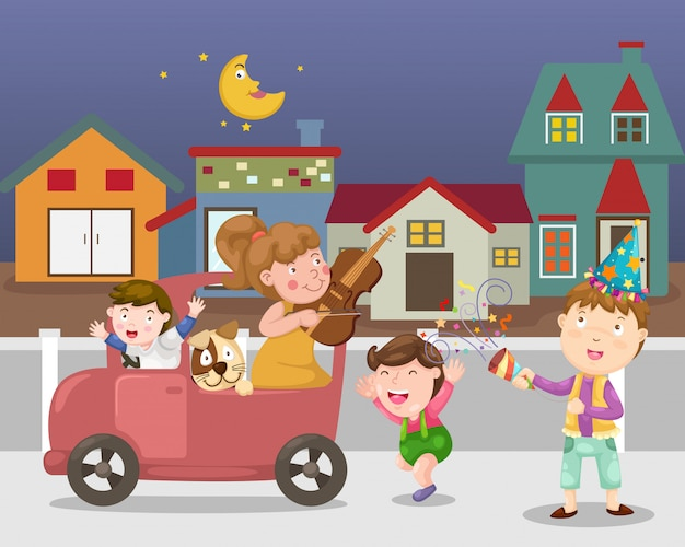 Feiern sie stadtstraßenvektor