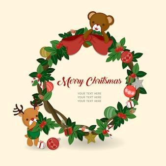 Feiern sie weihnachtsfest. süße puppen und weihnachtskranz.