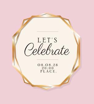 Feiern wir text im goldenen kreis der hochzeitseinladung