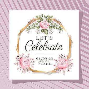 Feiern wir text im goldrahmen mit rosenblumen