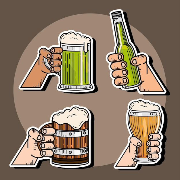 Feiernde hände mit bier