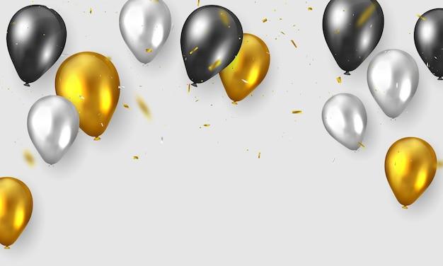 Feierparty mit goldballonhintergrund.