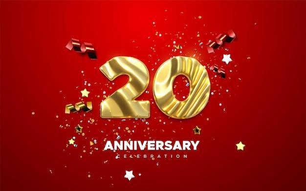 Feierschild zum 20. jahrestag mit goldener nummer 20 und konfetti
