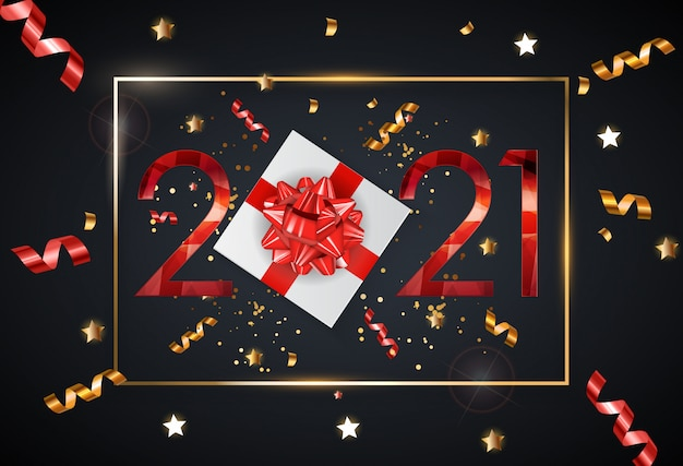 Feiertag 2021 neujahr und frohe weihnachten hintergrund. vektor-illustration