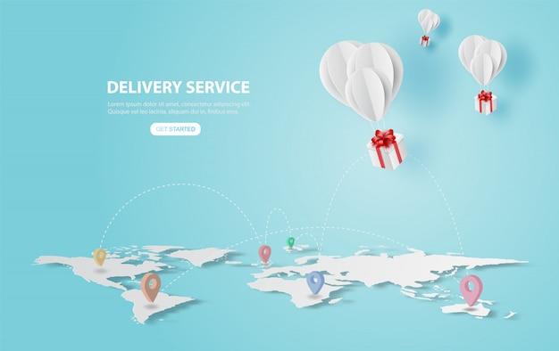 Feiertag der ballongeschenkfliege auf luft