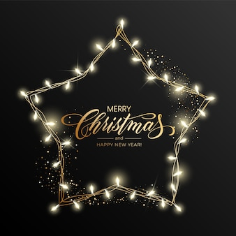 Feiertag ist für grußkarte der frohen weihnachten mit einer hellen girlande und der beschriftung der frohen weihnachten und des guten rutsch ins neue jahr.