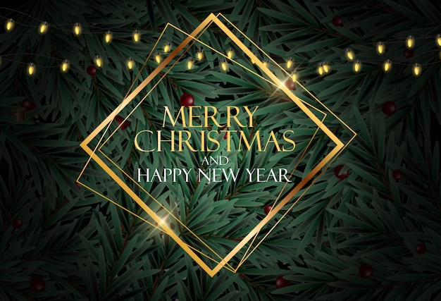 Feiertag neujahr und frohe weihnachten hintergrund mit realistischen weihnachtsbaum. vektor-illustration