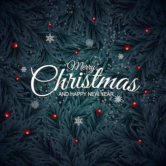 Feiertag neujahr und frohe weihnachten hintergrund mit realistischen weihnachtsbaum.