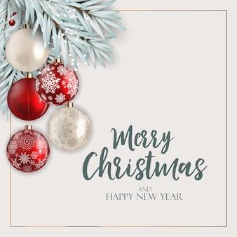 Feiertag neujahr und frohe weihnachten hintergrund mit tanne und bällen