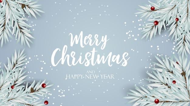 Feiertag neujahr und frohe weihnachten hintergrund mit tanne