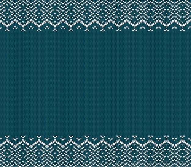 Feiertag strickte blaue verzierung mit leerem raum für text. weihnachten nahtlose muster.