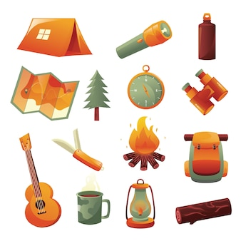 Feiertage camping icon element set flat style isolierte artikel