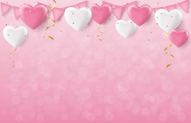 Feiertage valentinstag, rosa und weiße herzballone mit goldkonfettis und bokeh, parteikonzept, realistisches 3d.