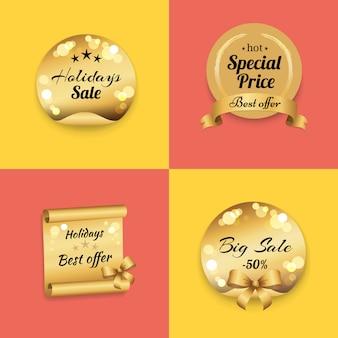 Feiertags-bestes angebot-aufkleber auf goldpapier-stempel-satz