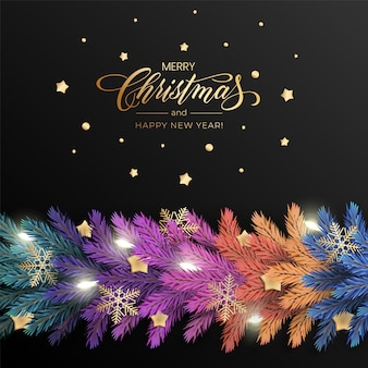 Feiertags für grußkarte der frohen weihnachten mit einer realistischen bunten girlande der kieferniederlassungen, verziert mit weihnachtslichtern, goldsterne, schneeflocken