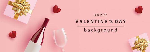 Feiertags-valentinstagfahne realistischer geschenkkasten, weinflasche, weinglas und rotes herz auf rosa für grußkarten, titel und website ,.