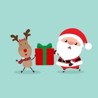 Feiertags-weihnachtsgrußkarte mit santa claus und ren. vektor-illustration