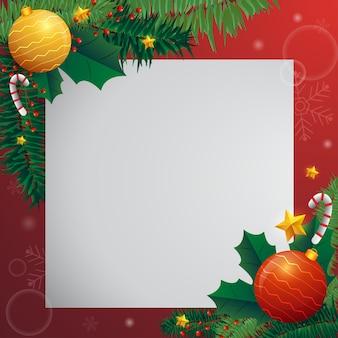 Feiertags-weihnachtskarte mit tannenbaum und festlichen dekorationsbällen, sterne, schneeflocken auf rotem hintergrund.