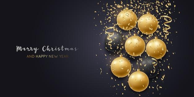 Feiertagsbanner. gold und schwarze weihnachtskugeln.