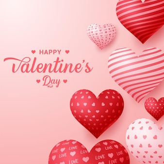 Feiertagsgruß zum valentinstag mit ballonherzhintergrund