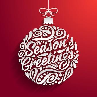 Feiertagsgrußkarte mit abstraktem gekritzel weihnachtsball. gruß der jahreszeit