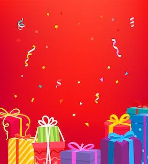 Feiertagsgrußkarte. vektorkonzept mit geschenkboxen