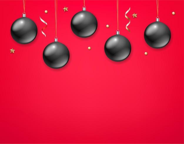 Feiertagsgrußkartenschablone mit schwarzen kugeln auf rotem hintergrund