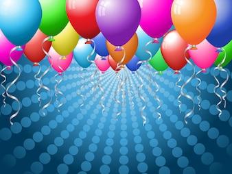 Feiertagshintergrund mit hell farbigen Ballonen