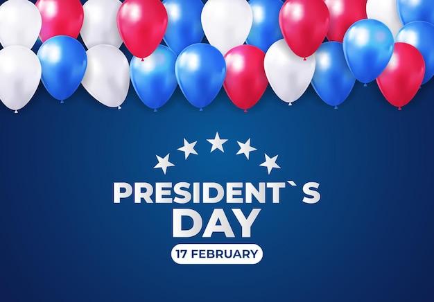 Feiertagshintergrund mit luftballons für den tag des us-präsidenten