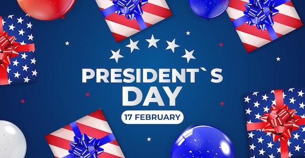 Feiertagshintergrund mit luftballons für usa president`s day poster